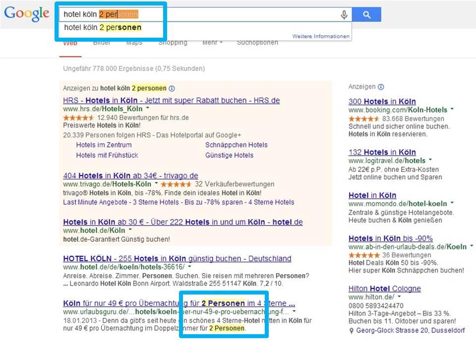 """Der Screenshot zeigt die Suchergebnisseite zum Keyword """"Hotel Köln 2 Personen"""". Google Adwords Longtail Strategien wären die manuelle Insertion des Keywords im Text der Anzeige."""